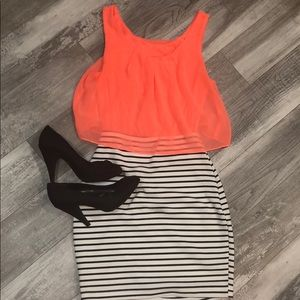 Striped Mini Dress With Coral Color Block Top
